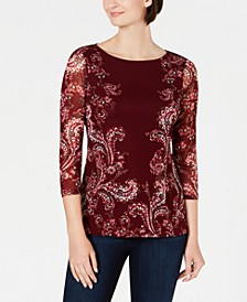 Petite Floral-Print Mesh Top, Created For Macy's