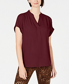 Petite Split-Neck Short-Sleeve Top, Created for Macy's