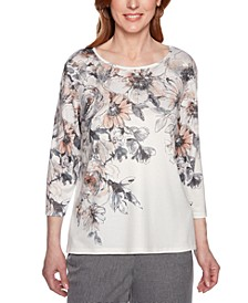 Petite Boardroom Floral-Print Studded Top