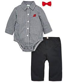 Baby Boys 3-Pc. Cotton Bowtie, Plaid Train Bodysuit & Pants Set