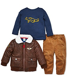 Baby Boys 3-Pc. Aviator Jacket, Plane-Print T-Shirt & Pants Set
