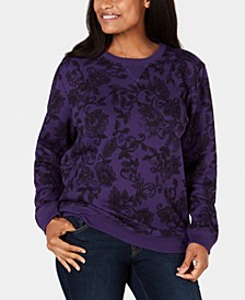 Petite Printed Long-Sleeve Sweatshirt, Created for Macy's