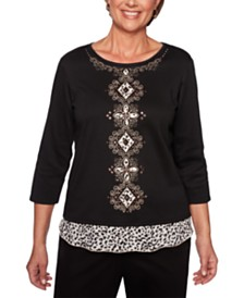 Alfred Dunner Petite Embroidered Layered-Look Sweater