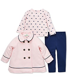 Baby Girls 3-Pc. Bow-Back Jacket, Bow-Print Top & Pants Set