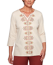 Alfred Dunner Petite Studded Embroidered Top