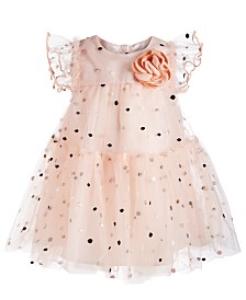Bonnie Baby Baby Girls Metallic-Dot Mesh Dress