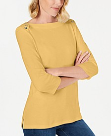 Grommet-Trim 3/4-Sleeve Top, Created for Macy's