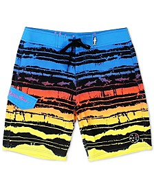 Maui and Sons Men's OMG Stretch Colorblocked Stripe Board Shorts