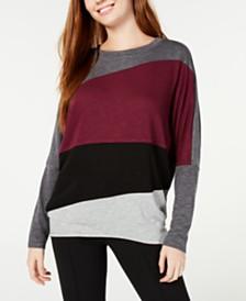 BCX Colorblocked Dolman-Sleeve Top