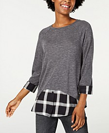Plaid-Hem Layered-Look Top