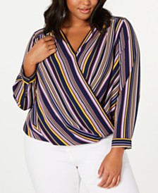Monteau Trendy Plus Size Surplice Blouse