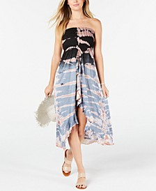 Tie-Dye Strapless Ruffled Cover-up Dress