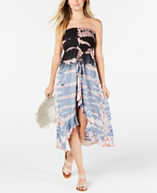 Raviya Tie-Dye Strapless Ruffled Cover-up Dress
