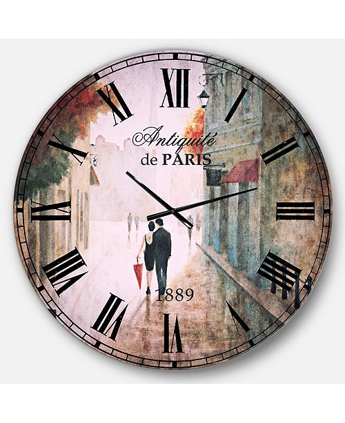Designart Romantic French Country Oversized Metal Wall Clock