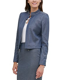 Open-Front Chambray Jacket