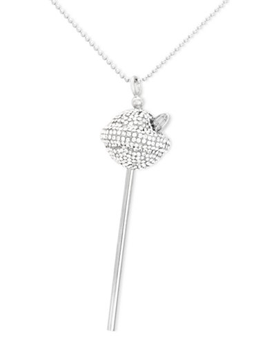 SIS by Simone I Smith Platinum Over Sterling Silver Necklace, White Crystal Lollipop Pendant