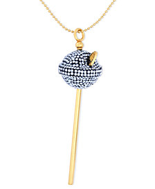 Simone I. Smith 18K Gold over Sterling Silver Necklace, Medium Blue Crystal Lollipop Pendant