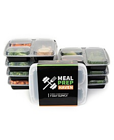 Meal Prep Haven 3 Compartment Food Containers, Set of 14