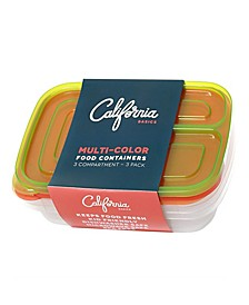 3 Compartment Reusable Food Storage Containers, Set of 3
