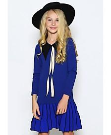 Lanoosh Big Girls A-Line Dress with Contrast Collar