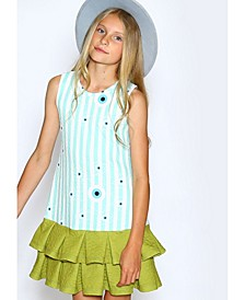Little Girls A-Line Dress with Box Pleat Hem Skirt