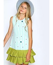 Little Girls A-Line Dress with Box Pleat Hem Skirt