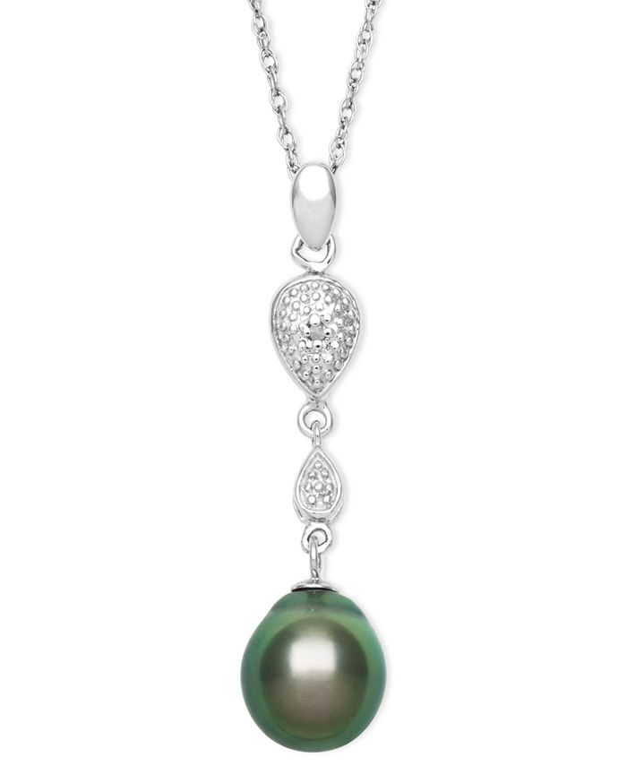 Macy's - Cultured Tahitian Pearl (8mm) and Diamond Accent Pendant Necklace in Sterling Silver