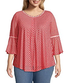 John Paul Richard Bell Sleeve Burnout Stripe Top, Plus Size