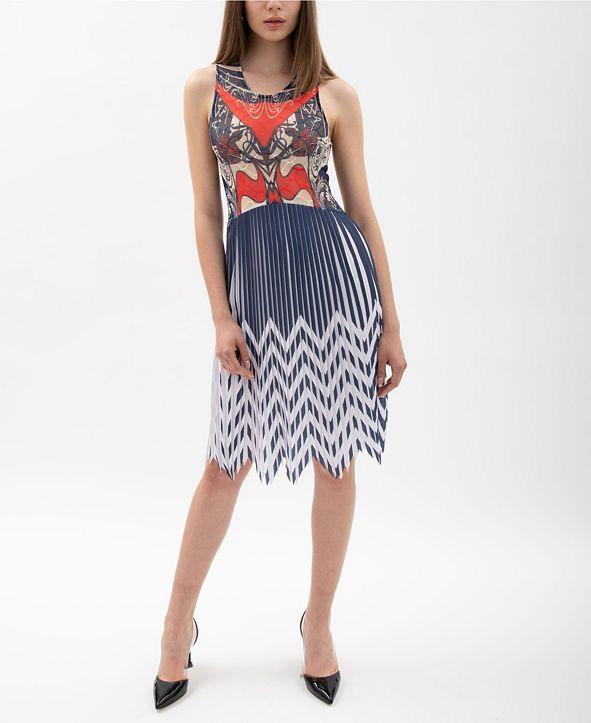 VHNY Print Mesh And Pleated Dress