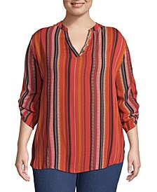 Striped Blouse with Roll Tab Sleeves, Plus Size