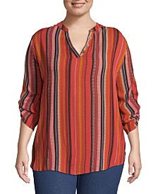 John Paul Richard Striped Blouse with Roll Tab Sleeves, Plus Size
