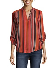 Striped Blouse with Roll Tab Sleeves