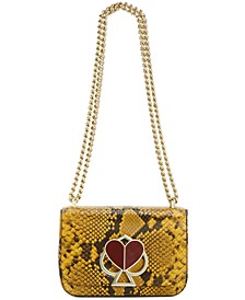 Nicola Snake Embossed Leather Twistlock Chain Shoulder Bag