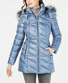Velvet-Trim Faux-Fur Hooded Puffer Coat