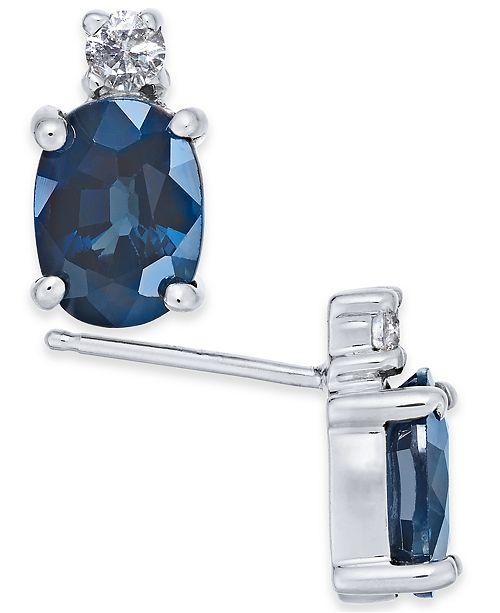 Macy's Sapphire (2 ct. t.w.) & Diamond (1/10 ct. t.w.) Stud Earrings in 14k White Gold