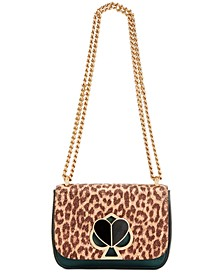 Nicola Metallic Leopard Twistlock Leather Shoulder Bag
