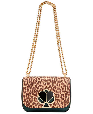 Nicola Metallic Leopard Twistlock Leather Shoulder Bag by General