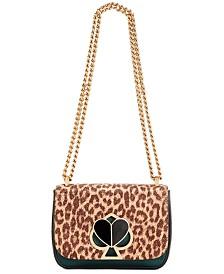 kate spade New York Nicola Metallic Leopard Twistlock Leather Shoulder Bag