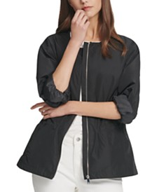DKNY Zip-Front Drawstring Jacket