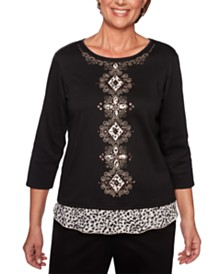Alfred Dunner Street Smart Border-Printed Embroidered Knit Top
