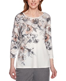 Alfred Dunner Boardroom Printed Embellished Top