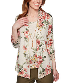 Alfred Dunner Cedar Canyon Floral Layered-Look Necklace Top
