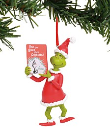 Department 56 Disney Grinch with Book Ornament