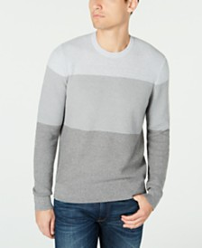 Michael Kors Men's Striped Crewneck Sweater, Created For Macy's