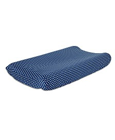The Peanutshell Navy Dot Cotton Changing Pad Cover