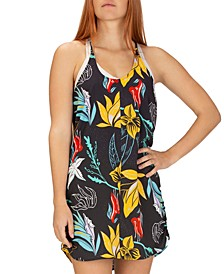 Juniors' Coastal Domino Floral-Print Dress