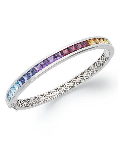 Sterling Silver Bracelet Multistone Rainbow Bangle 8 Ct T W