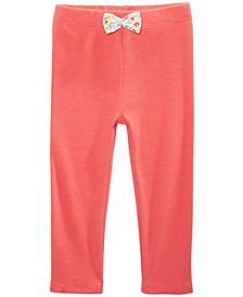 Toddler Girls Ribbed Bow-Waist Cotton Pants, Created for Macy's