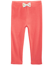 First Impressions Baby Girls Ribbed Bow-Detail Cotton Pants, Created for Macy's
