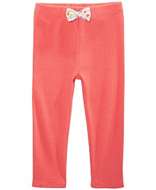 First Impressions Toddler Girls Ribbed Bow-Waist Cotton Pants, Created for Macy's